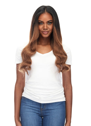 "Seam hair piece 24"" Rooted Off Black/Almond Brown  (1B/7) Hair Extensions"
