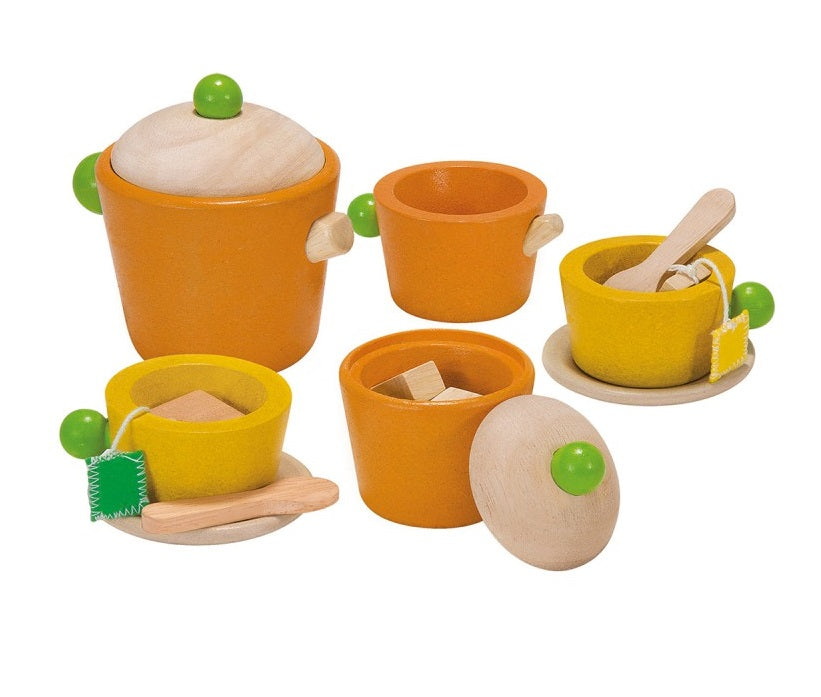 Plan Toys wooden tea set at Little Sprout