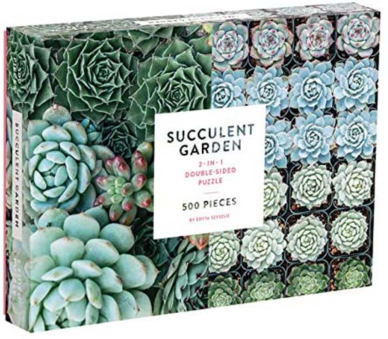 Galison Succulent Garden Double Sided Puzzle 500 Pieces
