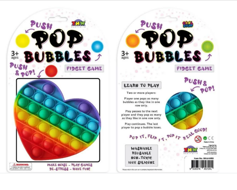 Push Pop Bubbles Rainbow Heart in packaging