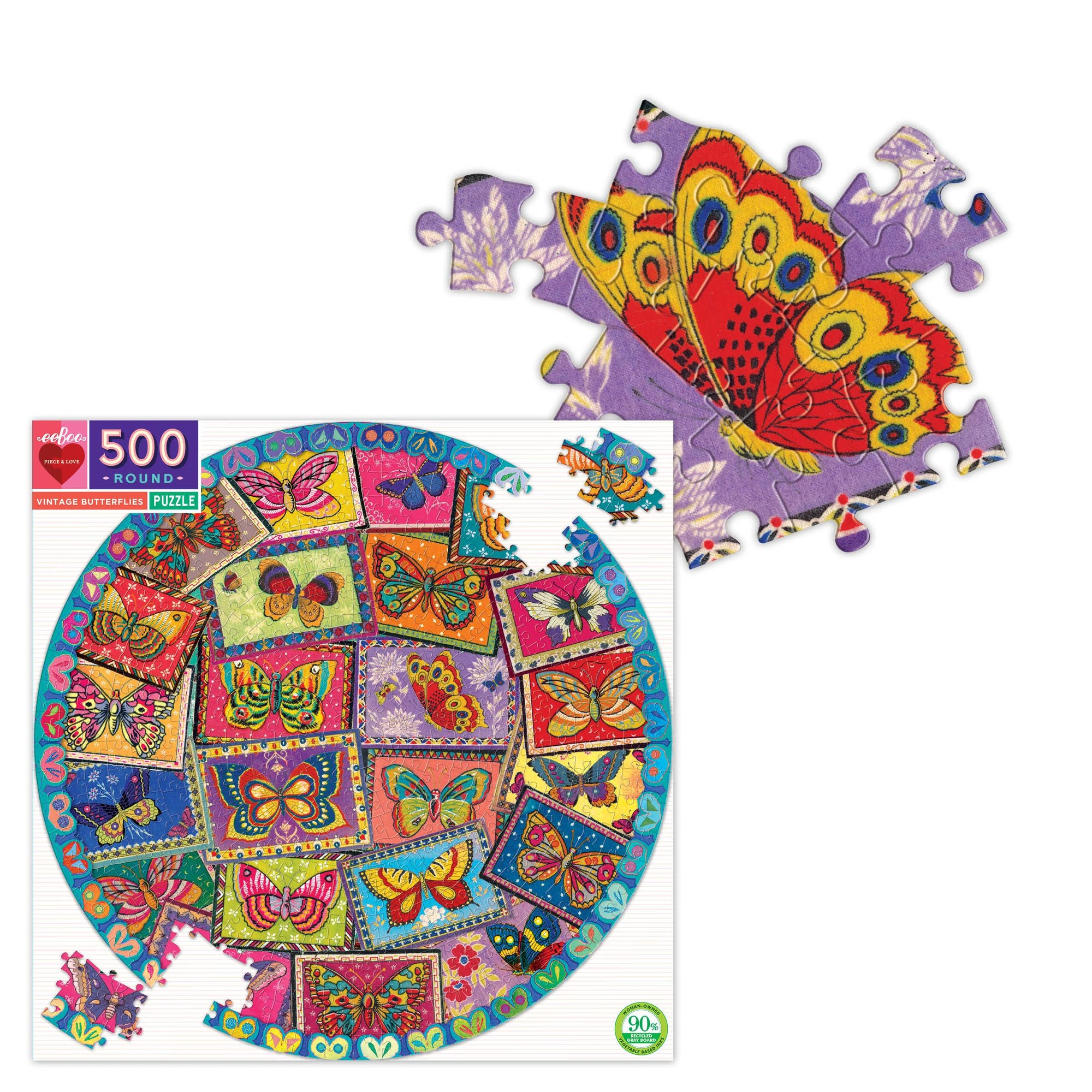Eeboo Butterfly Round 500 Piece Puzzle