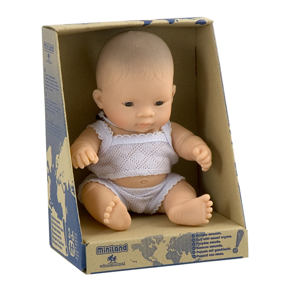 Miniland Asian Boy Doll 21cm in box available at Little Sprout