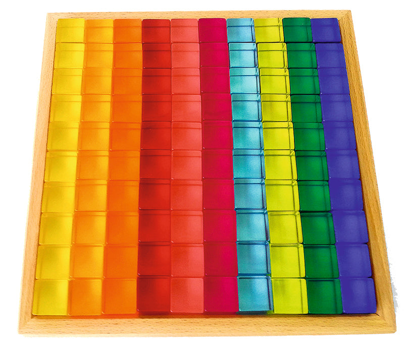 Bauspiel 100 Lucite Blocks in wooden tray
