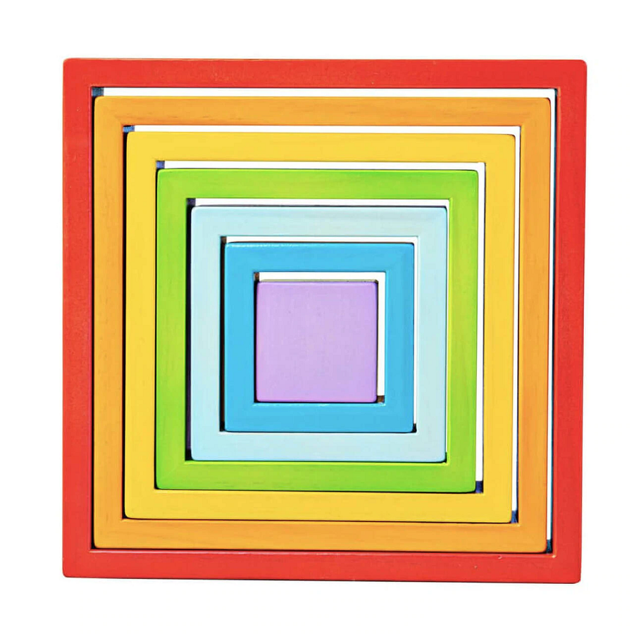 BigJigs Rainbow Wooden Stacking Squares