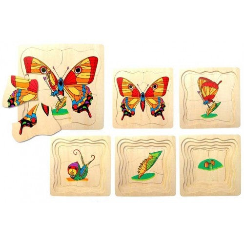Fun Factory Butterfly Life Cycle Wooden Layer Puzzle