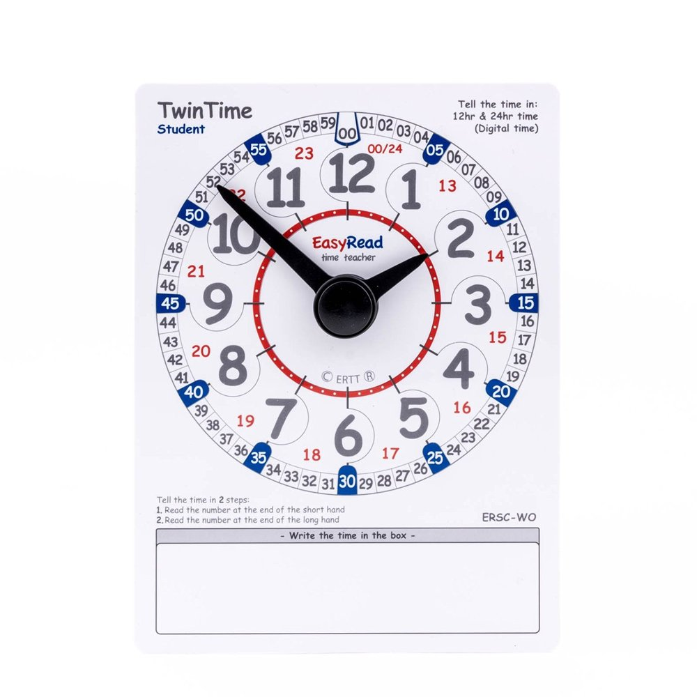 EasyRead Time Teacher TwinTime Student card