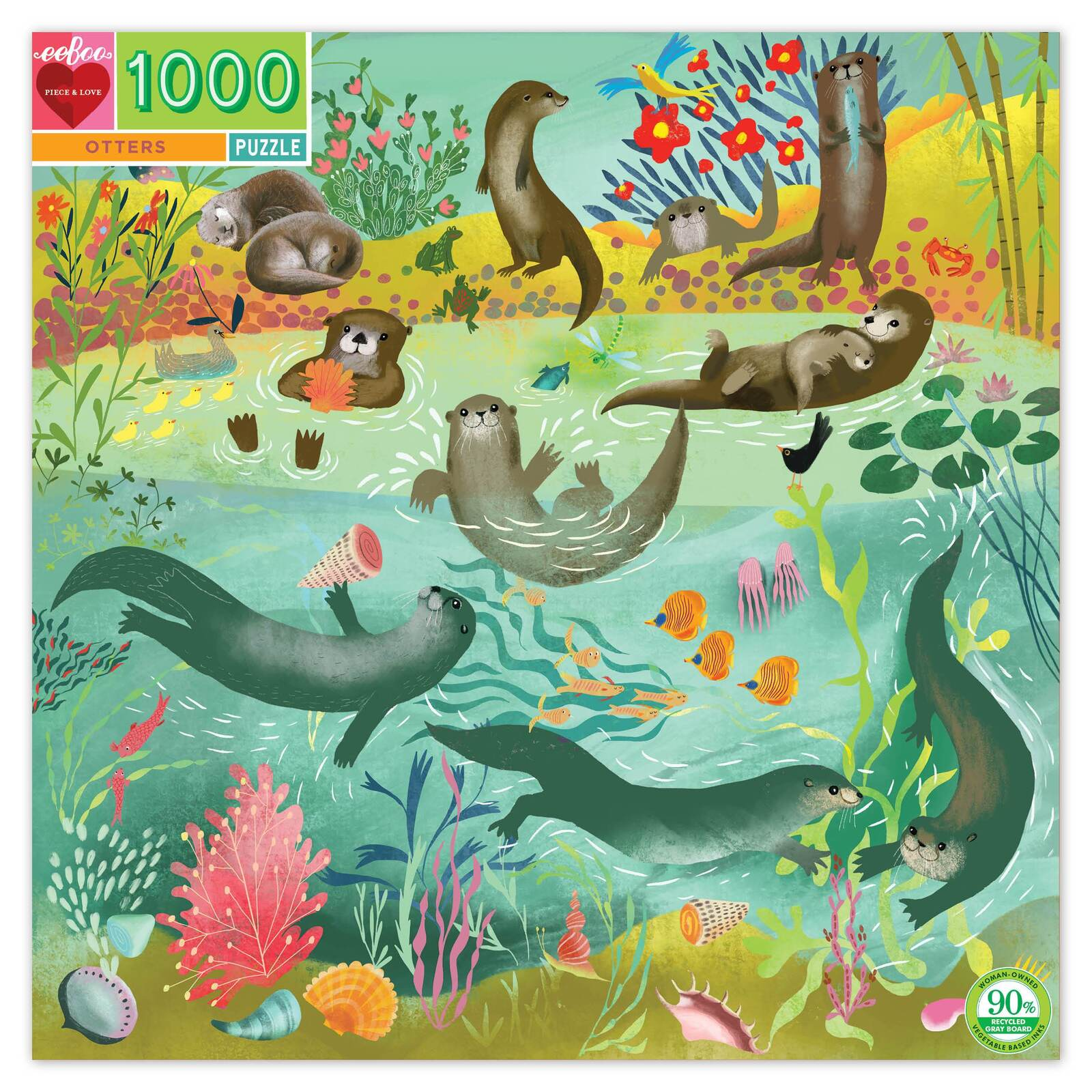 Eeboo Otters Puzzle 1000 Piece at Little Sprout