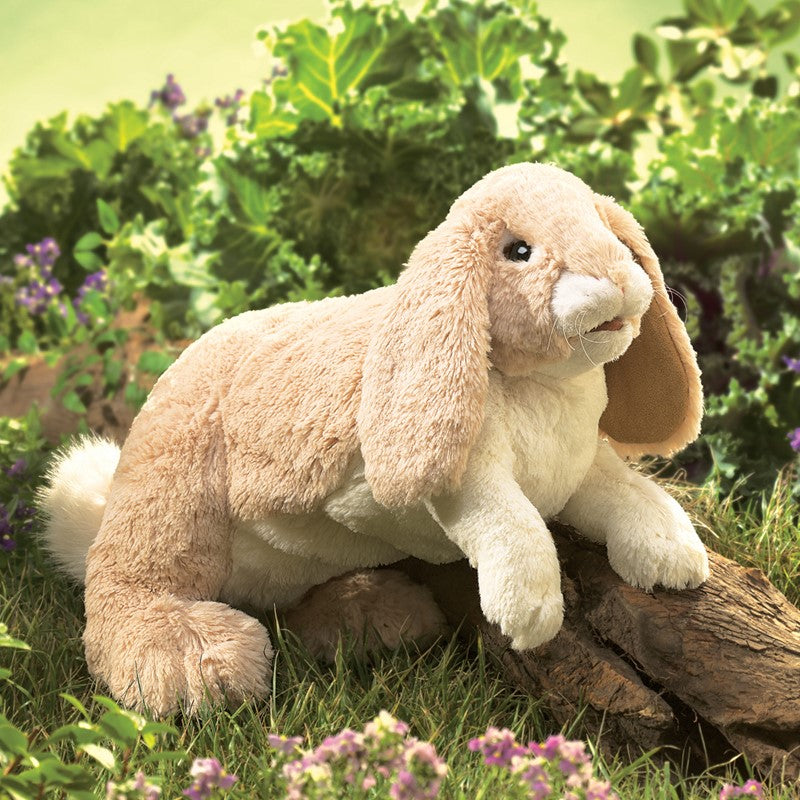 Folkmanis Floppy Bunny Puppet in the garden
