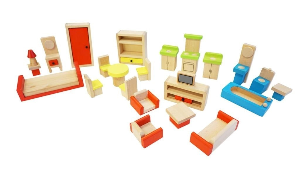 Fun Factory Wooden Doll House Furniture set of 26