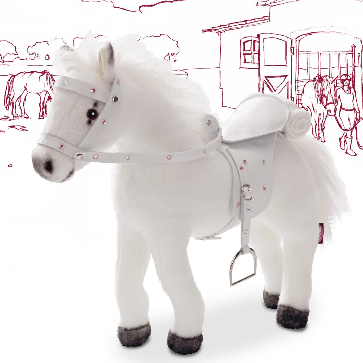 Gotz Plush White Horse with Soundbox at Little Sprout