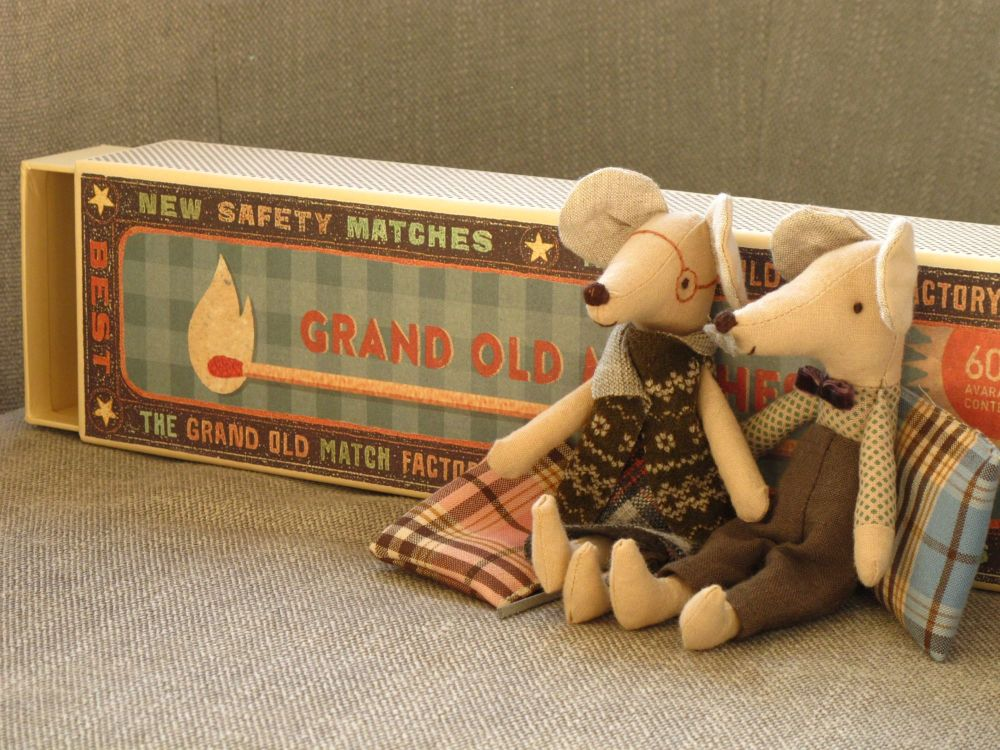 Maileg Mouse Grandma and Grandpa in Matchbox available at Little Sprout