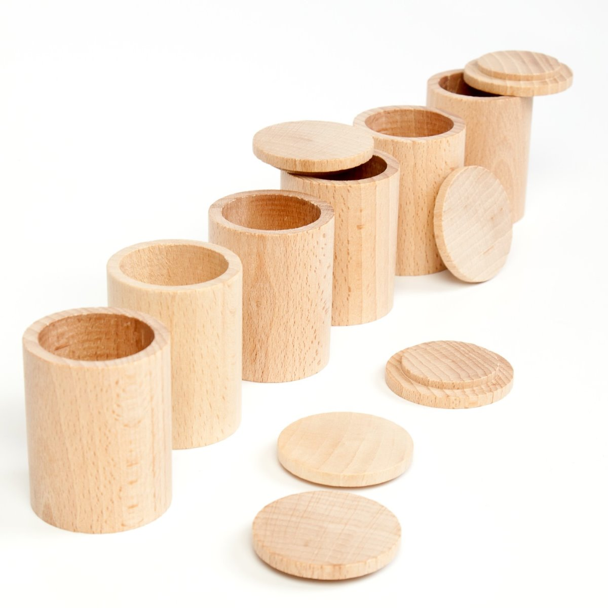 Grapat set of 6 Natural cups with lids