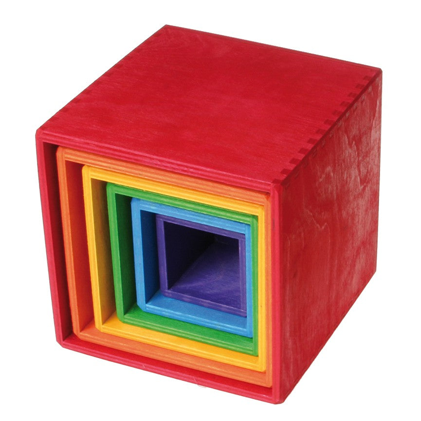 Grimms Large Wooden Boxes - Rainbow