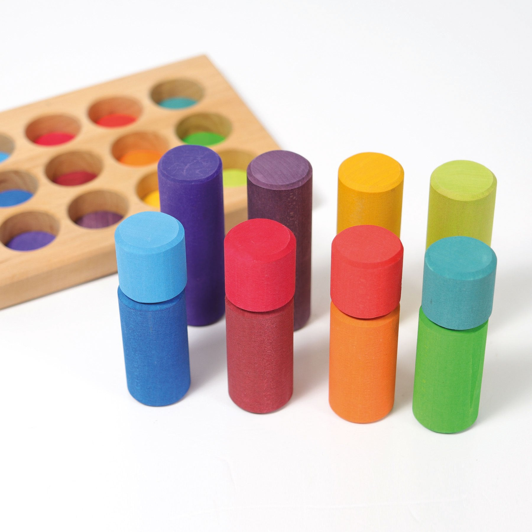 Grimms Small  Rainbow Rollers Stacking Game