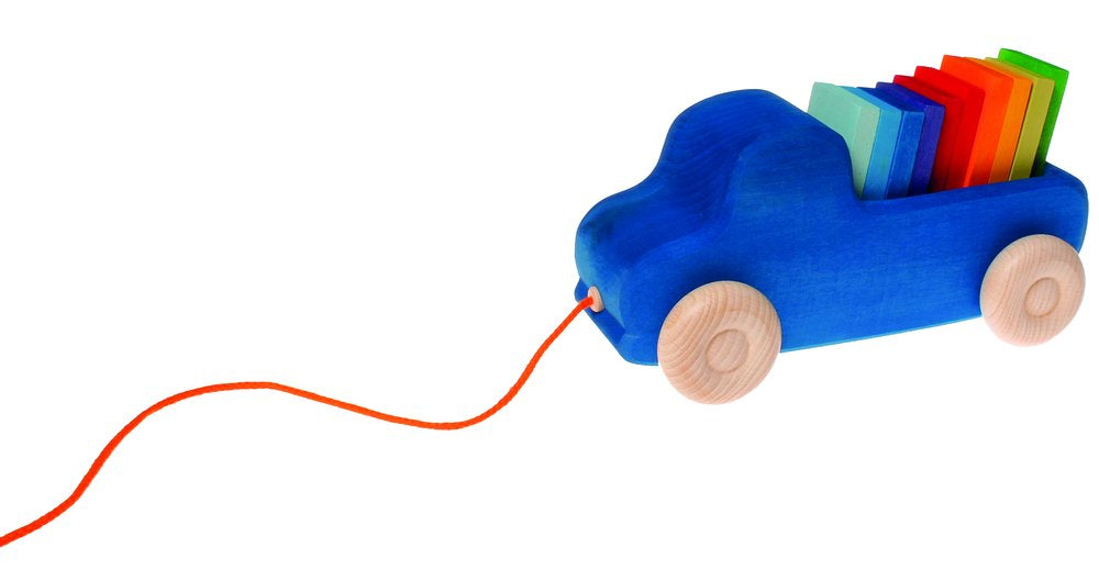 Grimms Wooden Blue Truck pull along toy