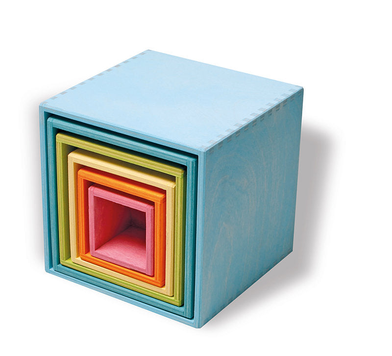 Grimms Wooden Stacking Boxes Pastel