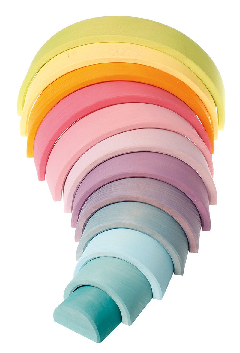 Grimms Wooden Rainbow Large Pastel available at Little Sprout