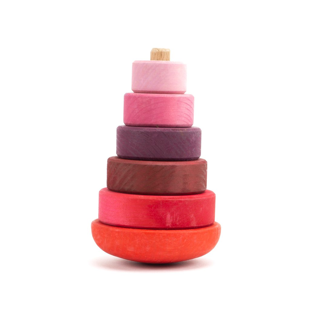 Grimms wooden Wobbly Stacking Tower in pink at Little Sprout