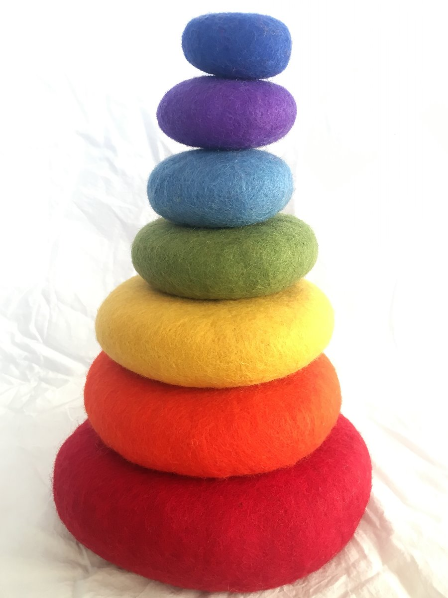 Stacking Felt Rainbow Pebbles at Little Sprout