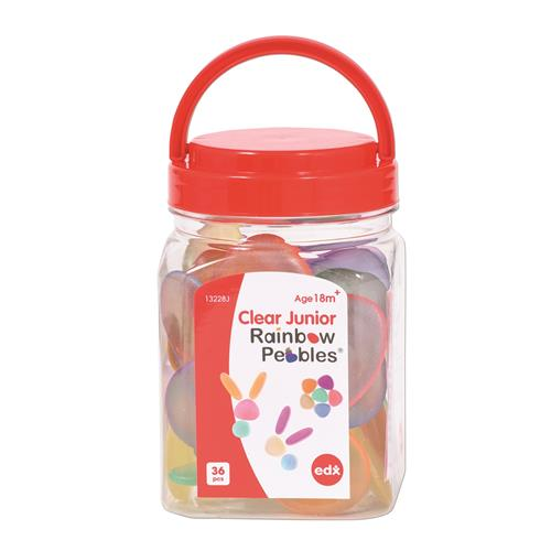 EDX Education Clear Junior Rainbow Pebbles 36 Piece
