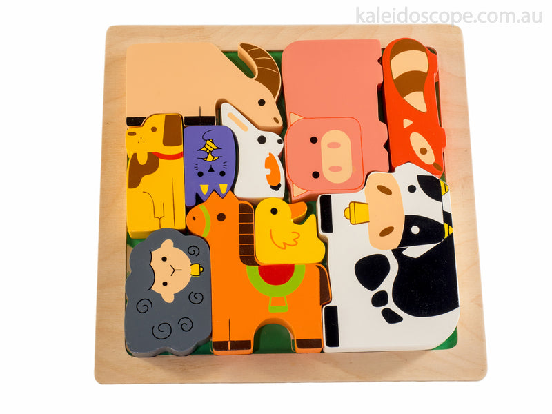 Kiddie Connect Chunky Wooden Farm Jigsaw Puzzle available at Little Sprout