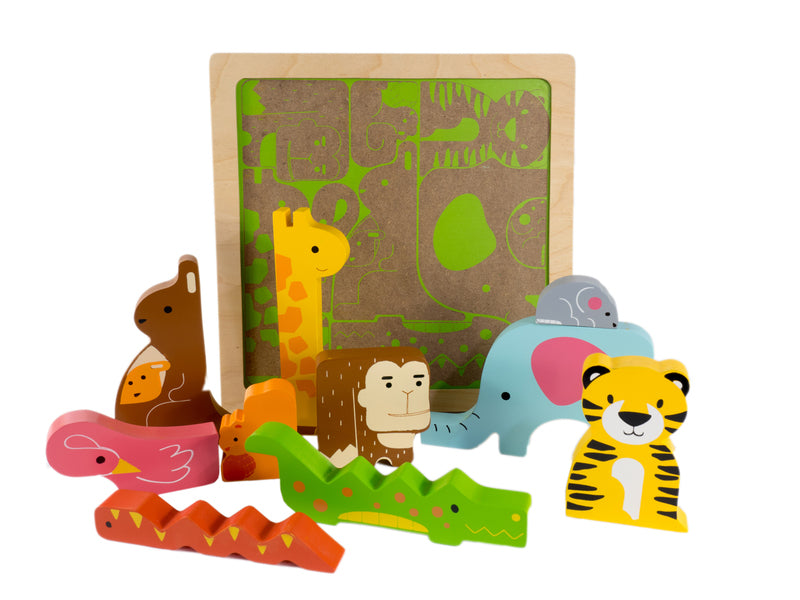 Kiddie Connect Chunky Wooden Puzzle Wild Jungle Animals available at Little Sprout