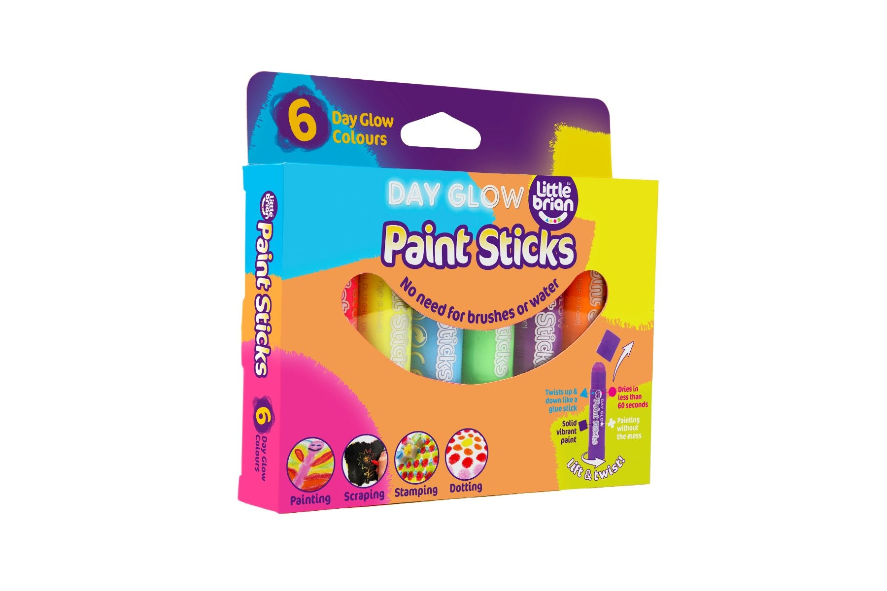 Little Brian Paint Sticks Day Glow Set of 6 at Little Sprout