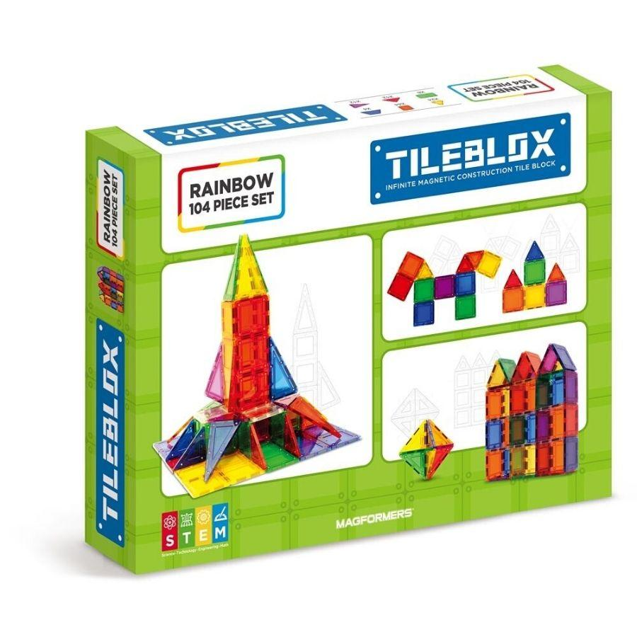 Magformers Tileblox 104 Piece Rainbow Set