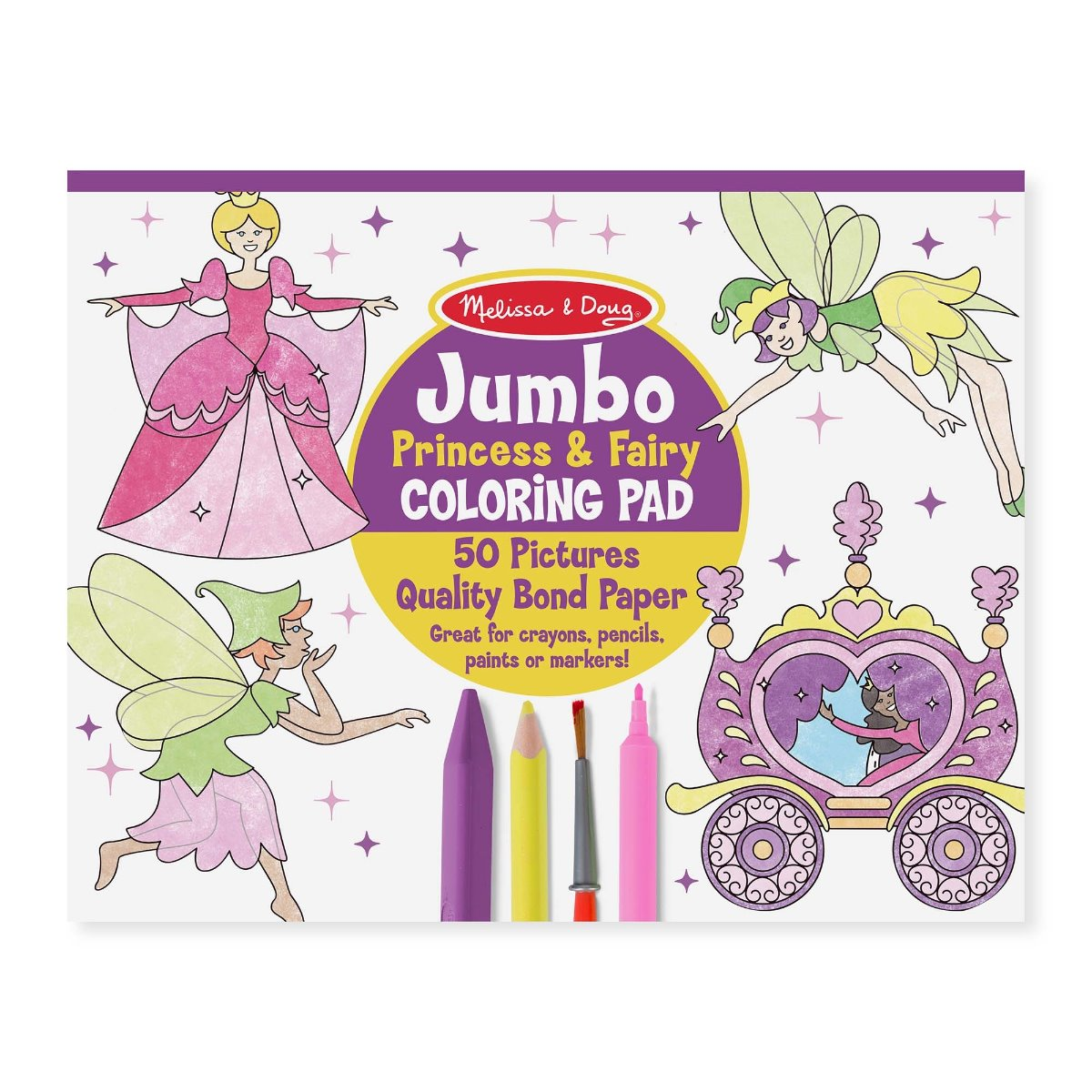 Melissa and Doug Jumbo Colouring Pad - Princess and Fairy