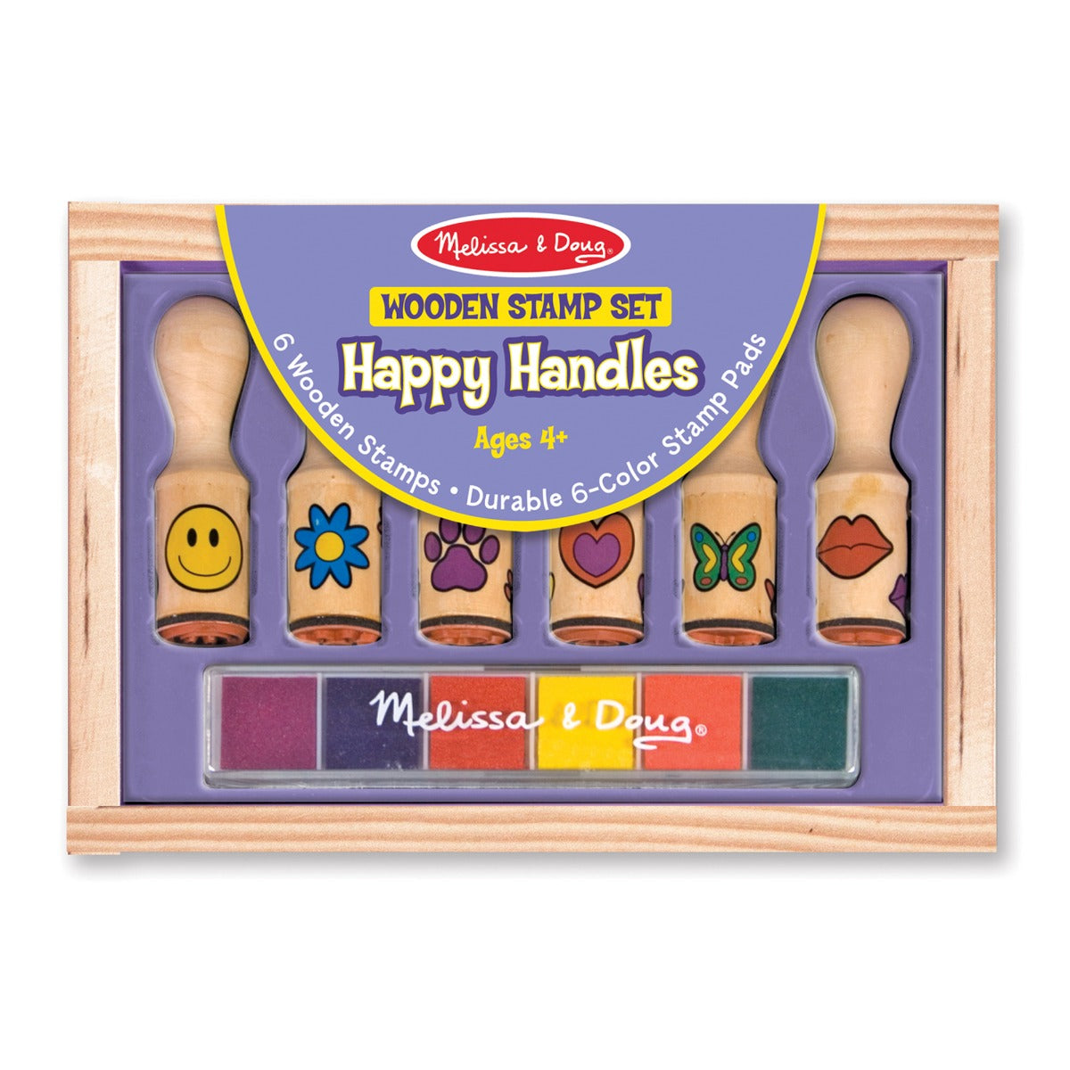 Melissa and Doug Wooden Stamp Set Happy Handles