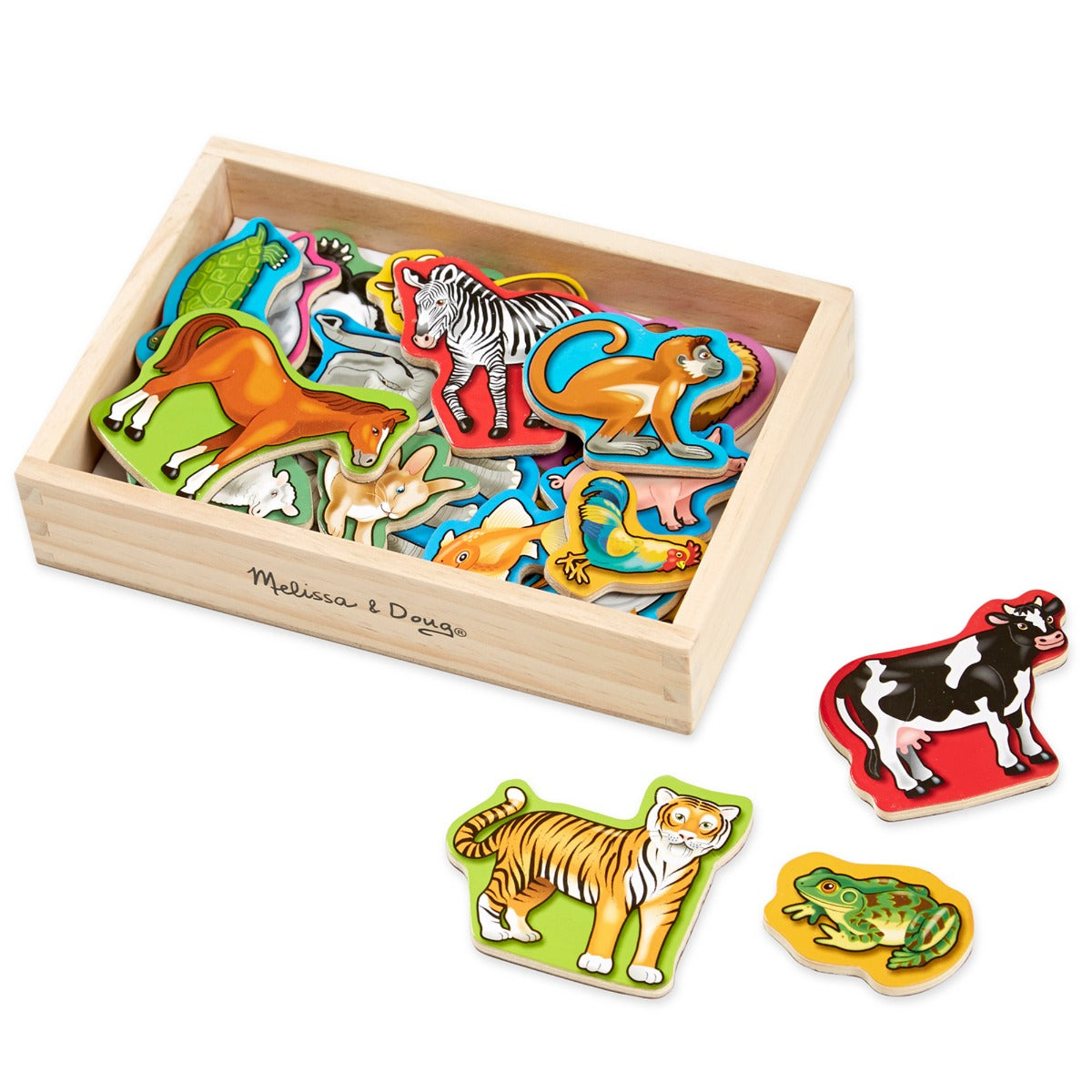 Melissa and Doug Wooden Animal Magnets in box