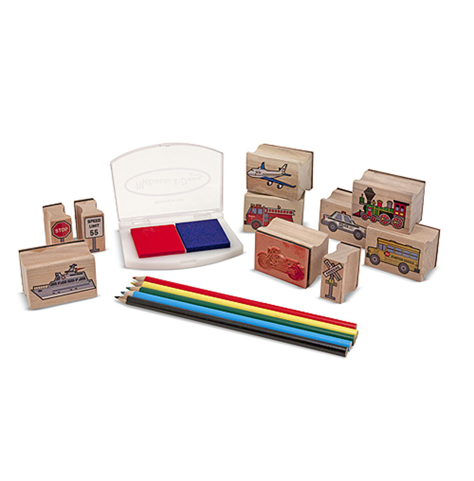 Melissa and Doug Wooden Stamp Set Vehicles at Little Sprout