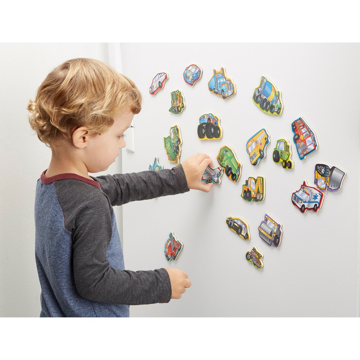 Melissa and Doug 20 Wooden Magnets Vehicles