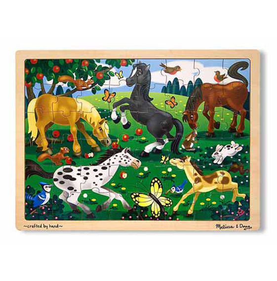 Melissa and Doug Frolicking Horse 48 piece wooden puzzle available at Little Sprout
