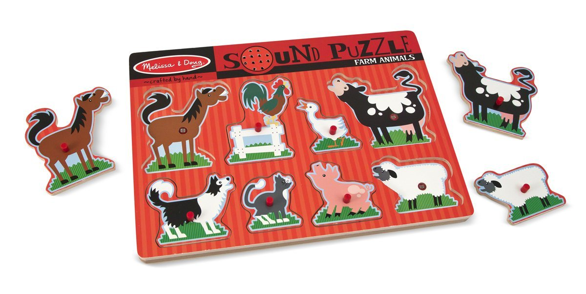 Melissa and Doug Farm Animals Sound 8 piece Puzzle available at Little Sprout