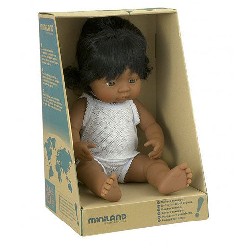 Miniland Hispanic Girl Doll 38cm in box