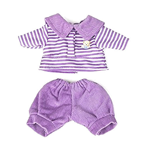 Miniland Purple Trousers and Striped Shirt doll clothing at Little Sprout