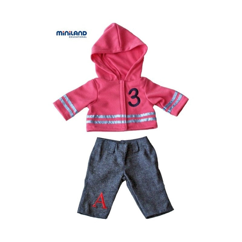 Miniland Jeans and Hoodie clothing set for 21cm doll available at Little Sprout