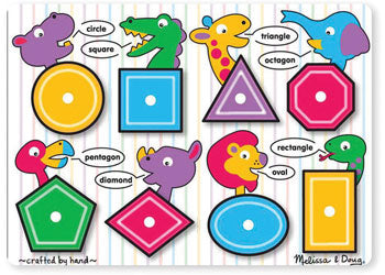 Melissa And Doug - Shapes Peg Puzzle 8 Pc