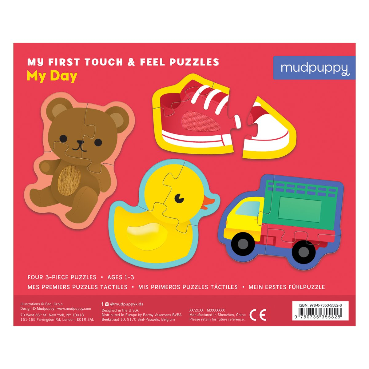 Mudpuppy Touch and Feel Puzzle My Day at Little Sprout