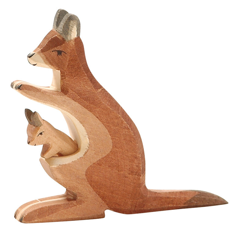 Ostheimer Wooden Kangaroo Mum and Baby available at Little Sprout
