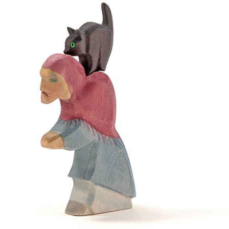 Ostheimer wooden toy witch and cat at Little Sprout