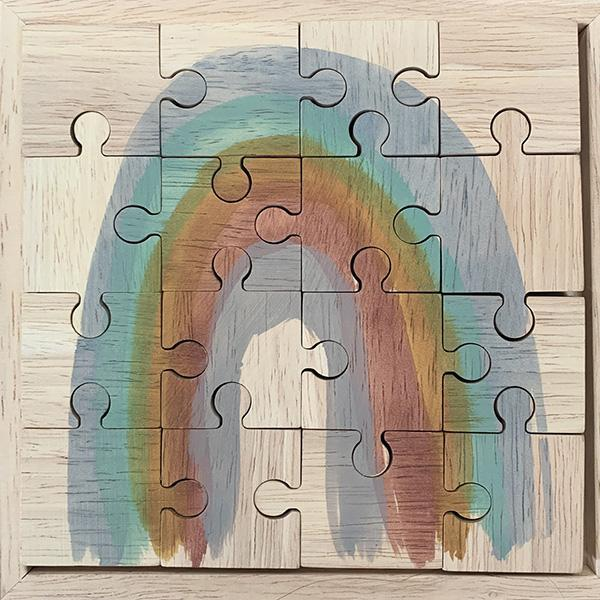 Papoose Earth Rainbow Wooden Jigsaw Puzzle 16 Pieces