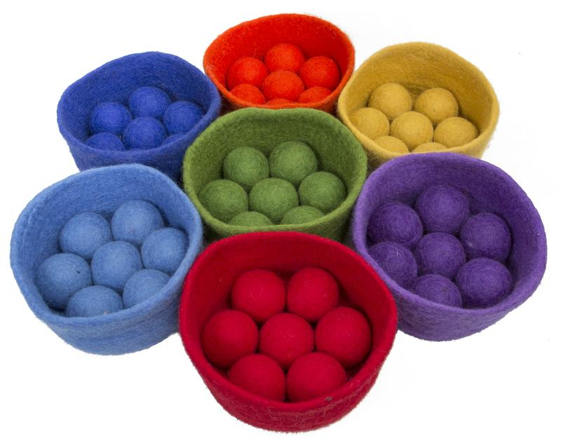 Papoose Rainbow Felt Ball and Bowls Set at Little Sprout