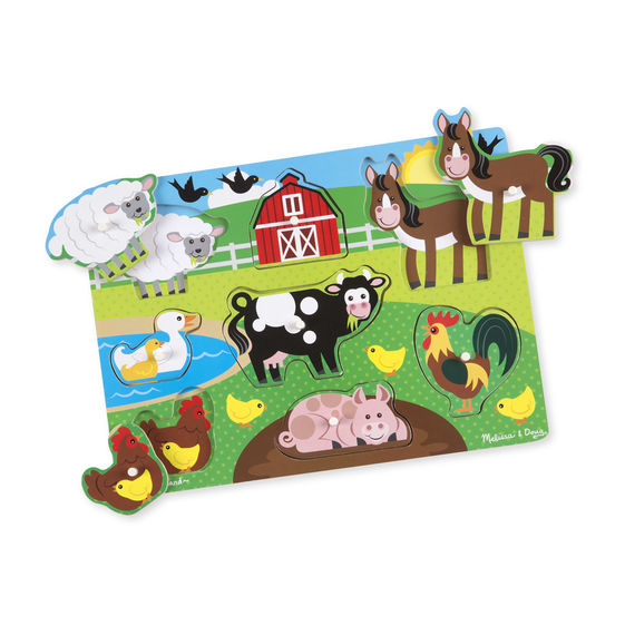 Melissa And Doug - Peg Puzzle Farm 8pc