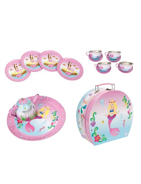 Pink Poppy Mystic Mermaid tin tea set in case contents