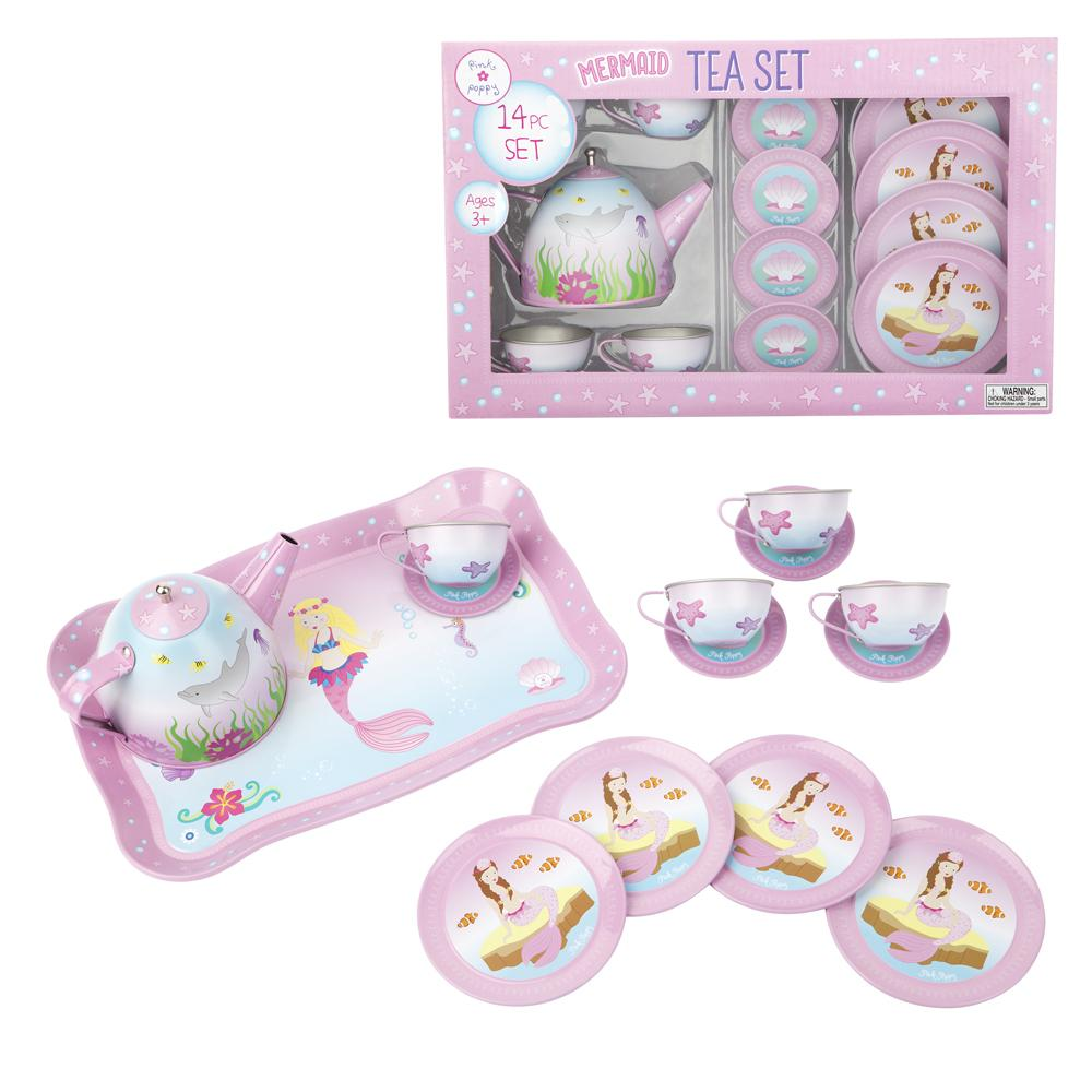 Pink Poppy Mystic Mermaid 14 Piece Tin Tea Set