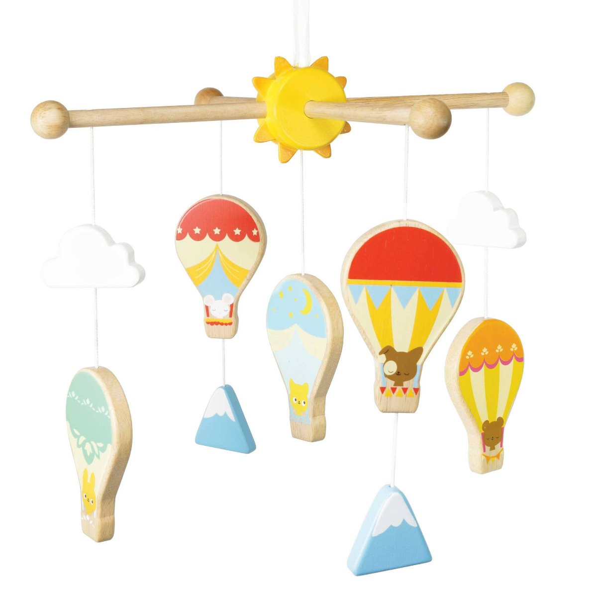 Hot Air Balloon and Cloud wooden hanging mobile