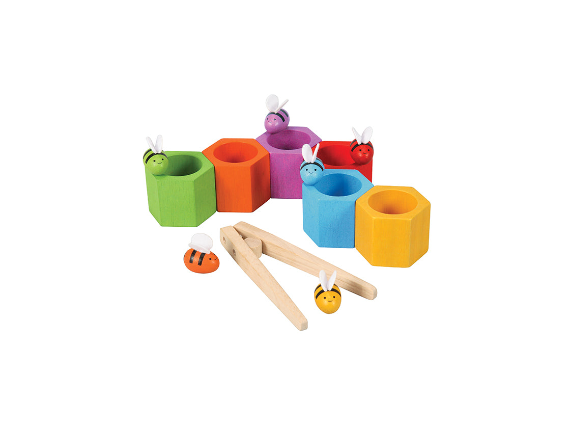 Plan Toys coloured wooden bees and beehives