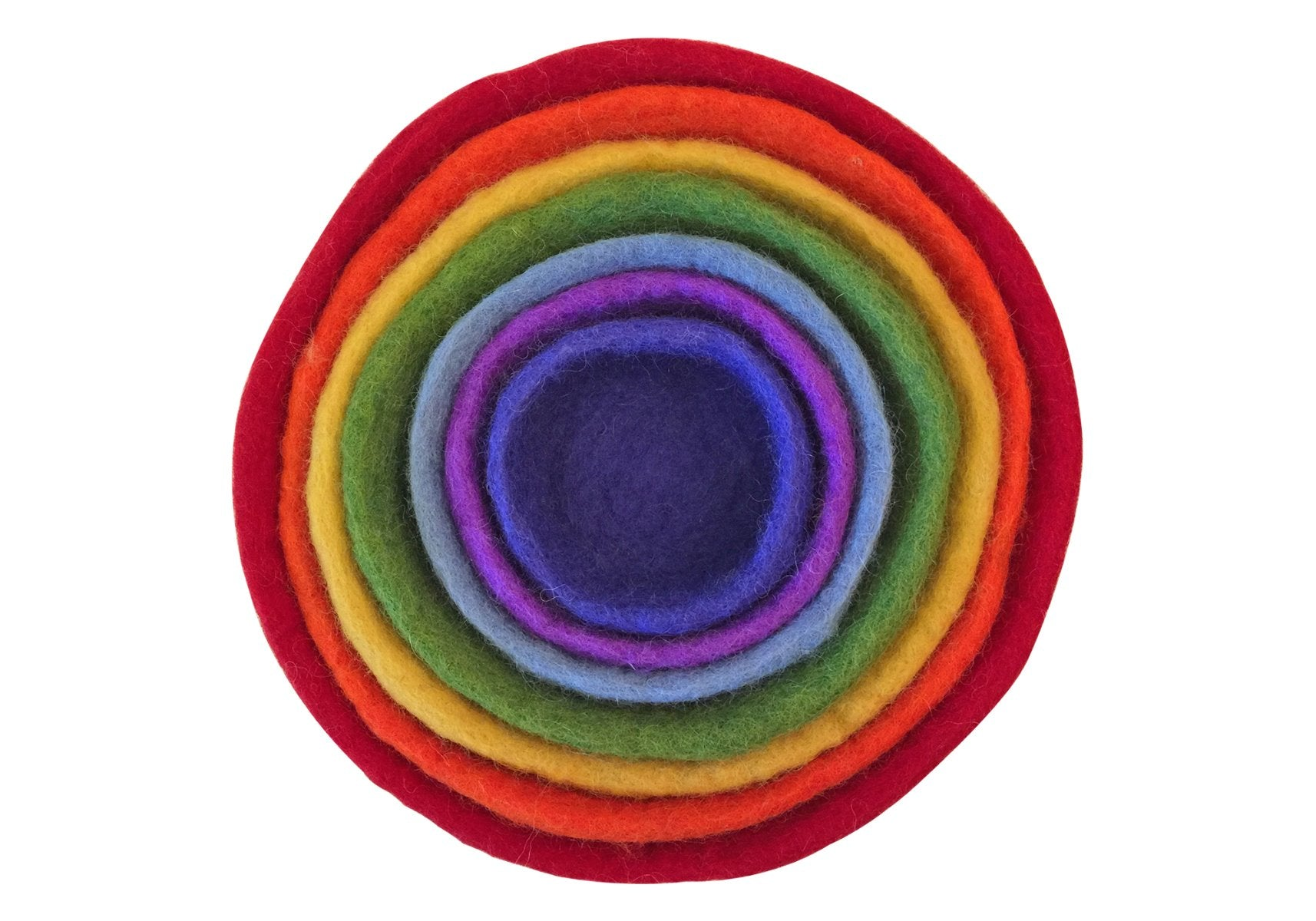 Set of 7 Felt nested rainbow bowls at Little Sprout